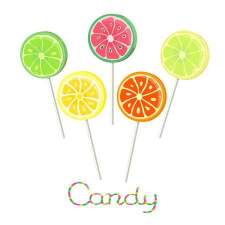 Watermelon, orange and lime  and other fruits lollipops isolated on white background Illustration