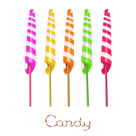 Rainbow unicorn twist candies on the stick isolated on white background Ilustração