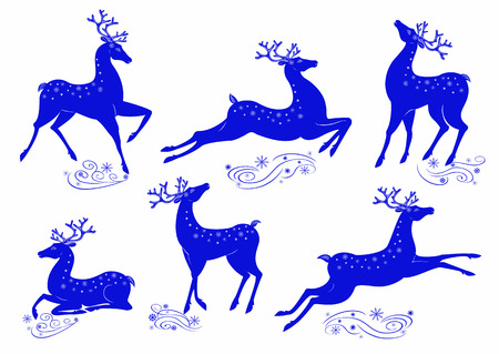 Collection of stylized blue deer isolated on white background Illustration
