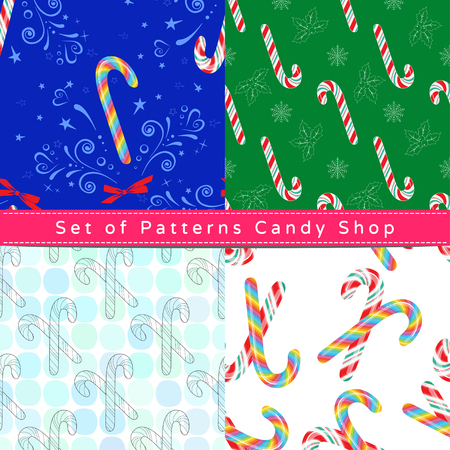 Set of seamless patterns with candy cane, their outline on the white and colorful backgrounds