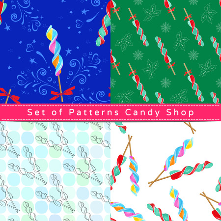Set of seamless patterns with corkscrew lollipop, their outline on the white and colorful backgrounds