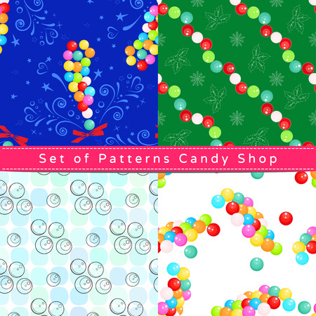 Set of seamless patterns with candy dragee, their outline on the white and colorful backgrounds