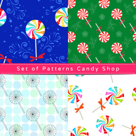 Set of seamless patterns with  peppermint candy, their outline on the white and colorful backgrounds Ilustração