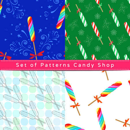 Set of seamless patterns with twist lollipop, their outline on the white and colorful backgrounds