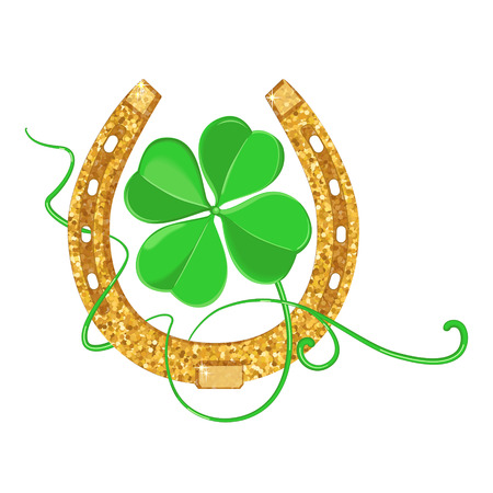 Stylized clover and glitter horseshoe as a symbol of Saint Patricks Day