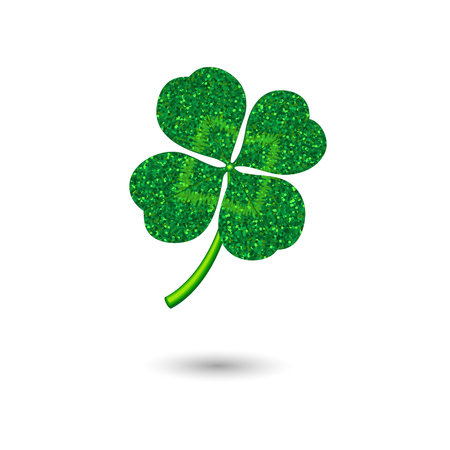 Stylized clover as a symbol of luck with glittering texture