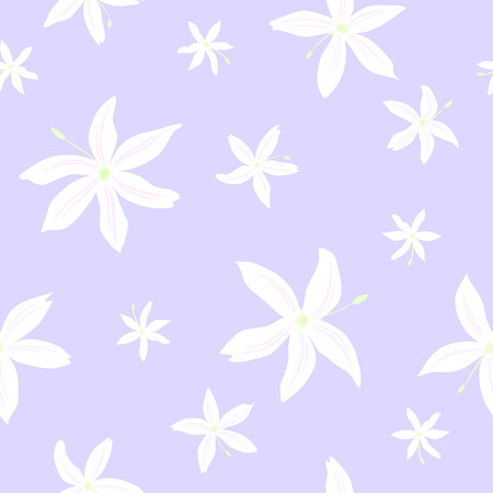 Tender seamless pattern of the jasmine flowers on the violet background