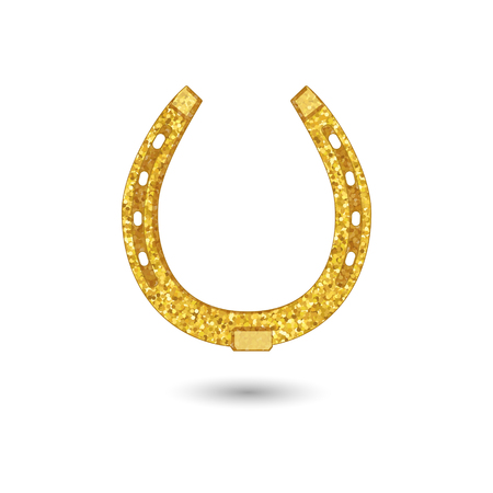 Stylized horseshoe as a symbol of luck covered with golden texture Ilustração