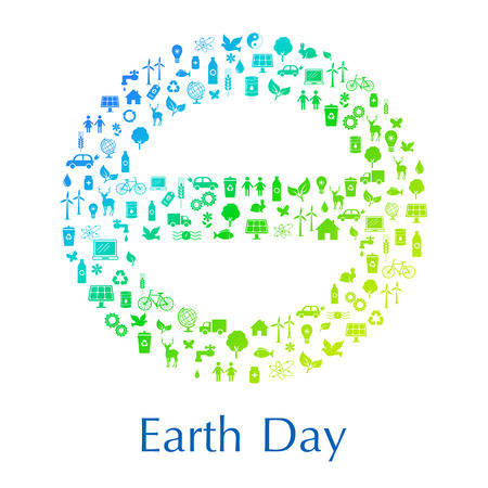 International sign of Earth theta made with the icons symbolizing problems of environment, ecology and life