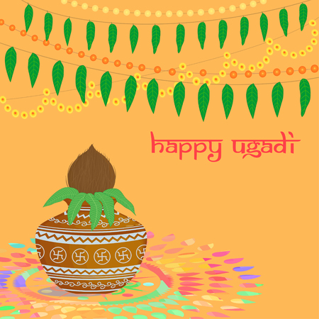 Vector illustration of Hindu festival Ugadi with traditional garlands and symbols on the background