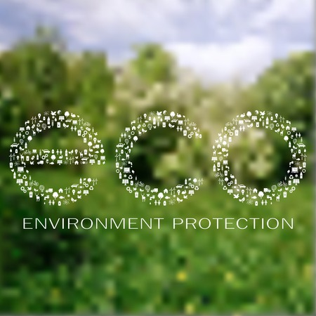 Icons of ecology and environment made eco sign on the blur nature background due to environment protection day Ilustração