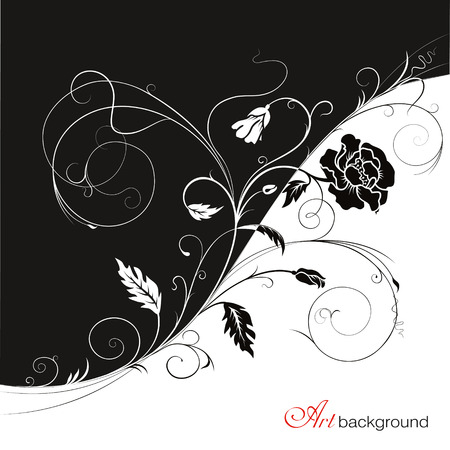 Monochrome artistic background with a branch of poppies, leaves, spots and swirls Ilustração