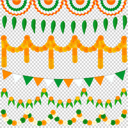Set of festive traditional garlands and bunting in the national colors of India Imagens - 62043550