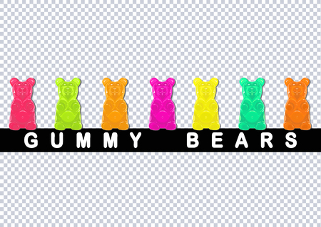 Colored gummy bear candies isolated on transparent background Ilustração