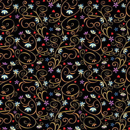 Floral vintage sofisticated pattern in rococo style on black background