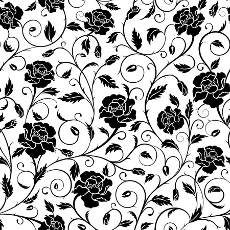 Seamless pattern of ornate poppies, buds and leaves in black and white