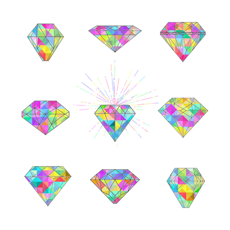 Set of polygonal colourful diamonds with spark on white background Imagens - 62043623