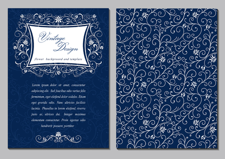 Rich vector, brochure, invitation or postcard in vintage floral decor pattern and frame Ilustração