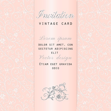 Rich vector invitation in vintage floral decor pattern with satin ribbon