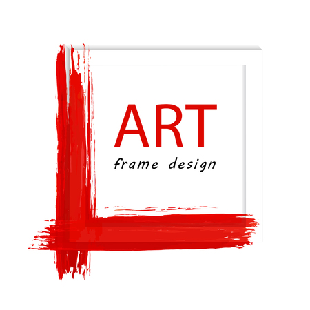 Decorative simple frame with the background of red paint stroke