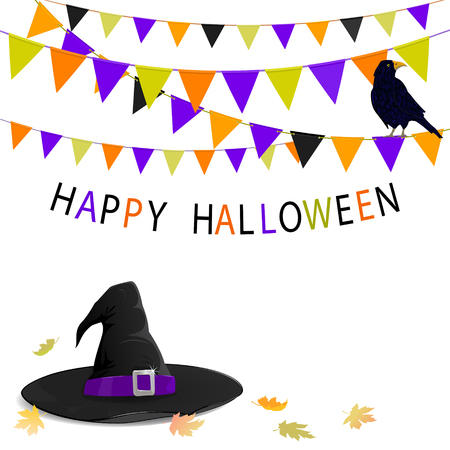 Celebration card with witch hat and buntings with raven on it dedicated to Halloween
