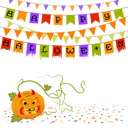 Celebration card with pumpkin with horns and buntings dedicated to Halloween