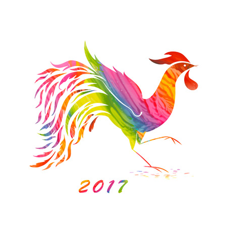 Stylized ornate silhouette of the rooster with a texture made of wax painting, as an element of a vector design on a poster, calendar, greeting card