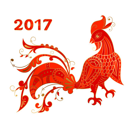 Red Rooster stylized Russian ethnics, New Year symbol for calendar, greeting cards and poster