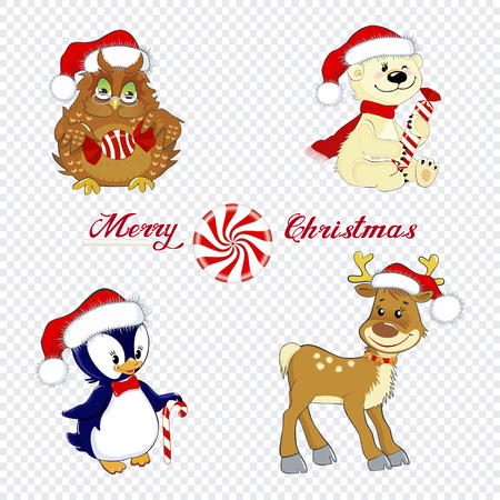 A set of cute little animals, owl, bear, deer and a penguin isolated on a transparent background as a design element for Christmas Ilustração