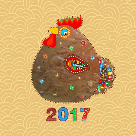 Funny cock in ethnic style, a symbol of the New Year, vector design element on a calendar, greeting card, poster, flyer Ilustração