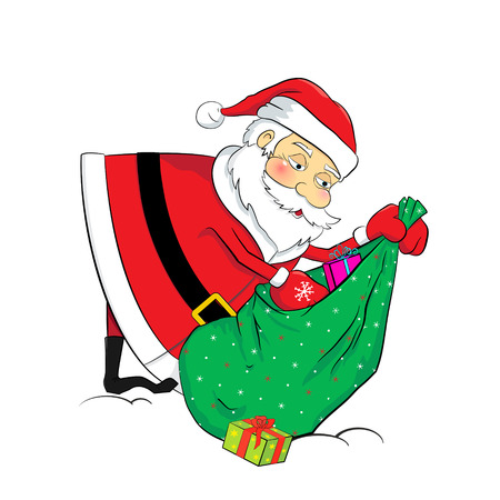 Funny cartoon Santa Claus with a sack full of gifts as a vector element for tags, flyers, discount coupons and calendars