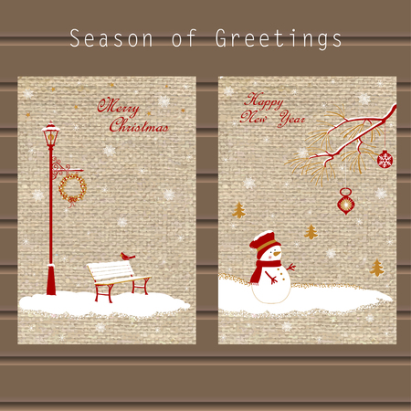 Christmas greeting with traditional symbols of the holidays with snowflakes, snowman, decorations on the background of the canvas, in a single style