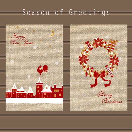Traditional greeting with Christmas wreath, snowflakes, winter city and a symbol of the New Year on the background of the canvas, in a single style