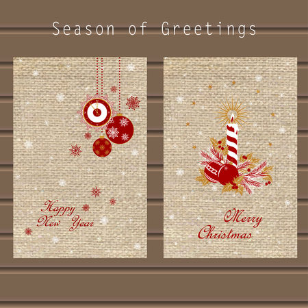 Christmas greeting with traditional symbols, Christmas tree, holly, snowflakes, Christmas ball, candle and clock on the background of the canvas, in a single style Illustration