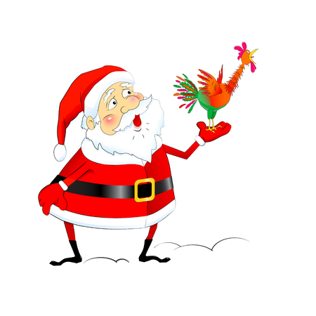 Funny cartoon Santa Claus with a screaming rooster, symbol of New Year, vector element for tags, flyers, discount coupons and calendars