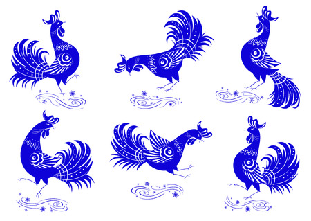 Collection of stylized blue roosters with decorative ornaments, can be easily painted in any color. Every object is on an individual layer Ilustração