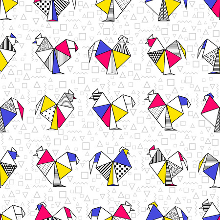 Abstract seamless pattern of origami rooster in red, blue, yellow, black, white in boho style. Vector design for card, brochures, souvenirs, scrapbooking, printed, textiles, wrapping.