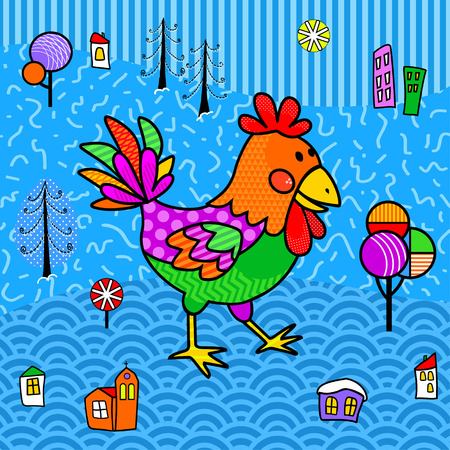 The image of the funny cock on the landscape background in the boho style as a background for a poster, postcards, mock ups