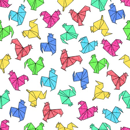 Seamless pattern of origami rooster in textural bright colors. Vector design for mockups, brochures, souvenirs, scrapbooking, calendars, printed, textiles, wrapping.