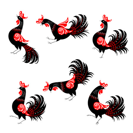 Set of ethnic black and red roosters in Russian folklore style. Every object is on an individual layer Illustration