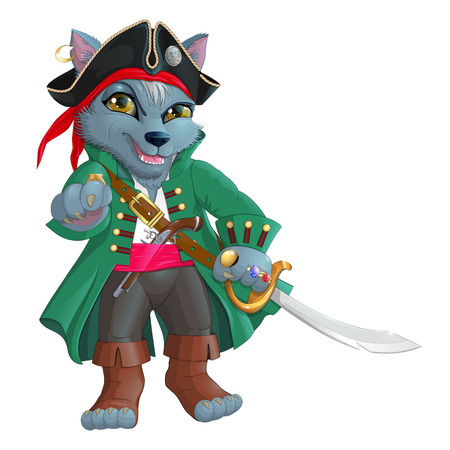 Bright wolf pirate captain with a sword in one hand, and the other indicates away isolated on white background
