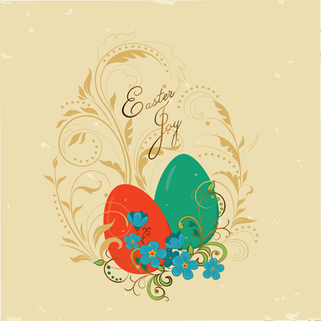 Vintage card Easter joy with an image on it Easter eggs and flowers on a gold pattern in the form of a swirl of plants Ilustração