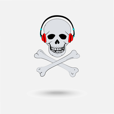 Skull with headphones Illustration
