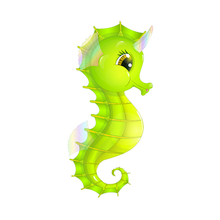 Fairy sea unicorn, in the form of a cartoon seahorse with an iridescent horn, isolated on a white background Illustration