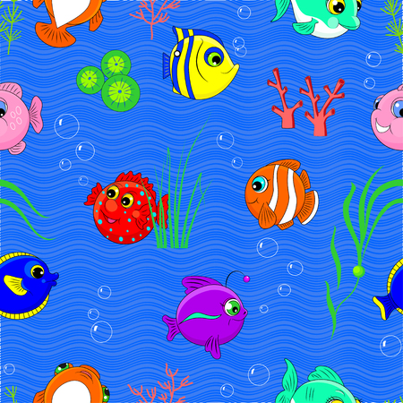 Cute seamless pattern with fish and seaweed in cartoon style on a blue marine background