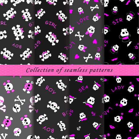 Set of seamless patterns with cartoon skulls in subcultural style on the dark background