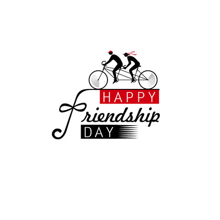 With the Day of Friendship greeting as friends on tandem, the concept of unity in difficulties and in fun. Designers idea for a postcard, banner, fox, invitation