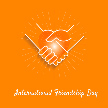 Friendly handshakes and heart as a symbol of unity, compliance, partnership, greetings on orange background.