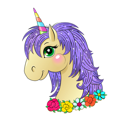 Funny unicorn head Illustration
