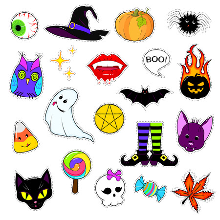 A set of cute Halloween attributes. Halloween stickers design. patch icons pumpkin, hat, reduced, bat, black cat and other holiday elements isolated on white background